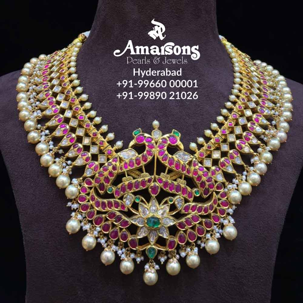 South Indian Style Gold Necklace Amarsons Pearls Jewels